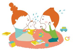 泣く赤ちゃんをあやす夫婦のイラスト素材 [FYI01820026]
