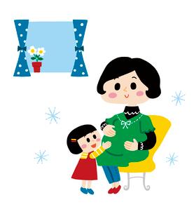 ママのお腹の中にいる赤ちゃんに話しかける女の子のイラスト素材 [FYI01820034]