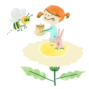 花の蜜を集めミツバチにプレゼントする女の子とうさぎのイラスト素材 [FYI01820058]