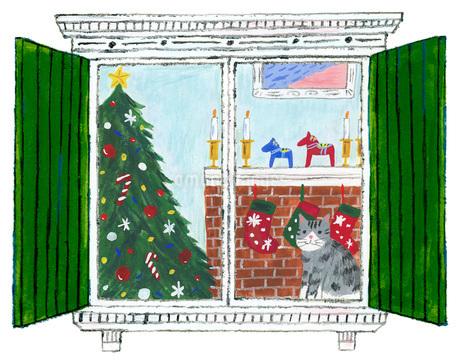 猫と窓とクリスマスのイラスト素材 [FYI01820095]