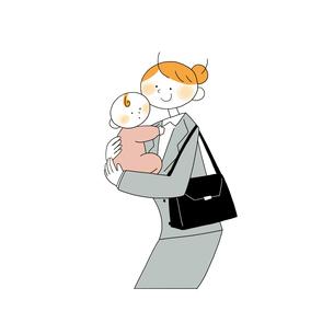 子供を抱くスーツの女性営業のイラスト素材 [FYI01820102]