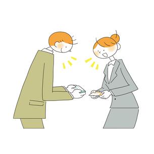 名刺交換をする男性営業と女性営業のイラスト素材 [FYI01820110]