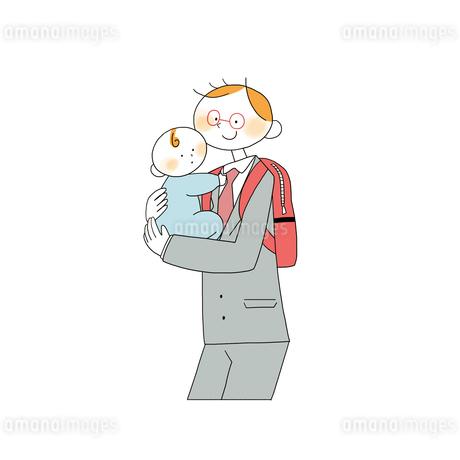 子供を抱くスーツの男性営業のイラスト素材 [FYI01820131]