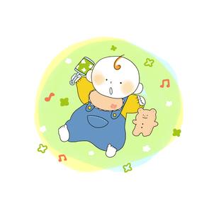 寝そべりガラガラを持つ赤ちゃんのイラスト素材 [FYI01820169]