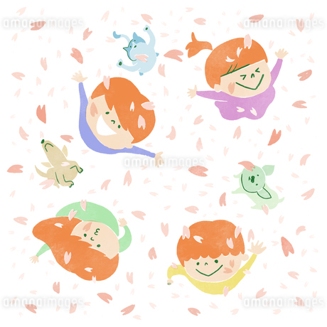 桜吹雪に空を見上げてはしゃぐ子供たちと犬のイラスト素材 [FYI01820251]