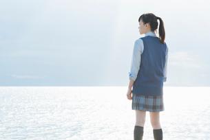女子高生 海 後ろ姿 輝きの写真素材 [FYI01820279]
