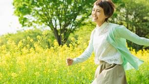 菜の花畑を散歩する女性の写真素材 [FYI01820297]