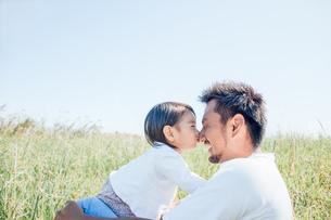 パパの鼻にキスをする子供の写真素材 [FYI01820331]