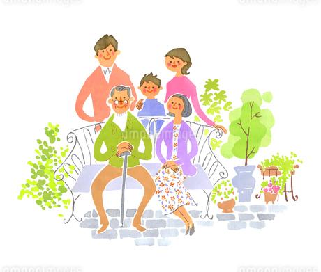 庭での3世代家族のイラスト素材 [FYI01820348]