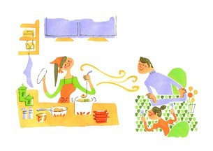 ダイニングキッチンでの家族のイラスト素材 [FYI01820350]