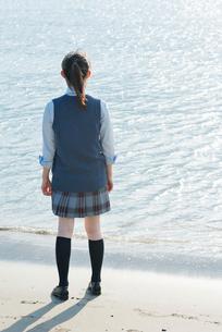 女子高生 海 後ろ姿 輝きの写真素材 [FYI01820381]