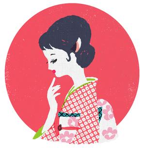 和服を着た横顔の女性のイラスト素材 [FYI01820384]