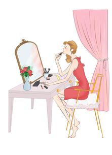 室内で化粧する女性のイラスト素材 [FYI01820409]