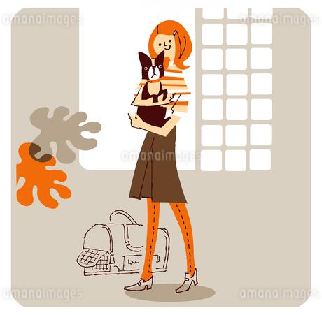 ボストンテリアを抱く女の子のイラスト素材 [FYI01820430]