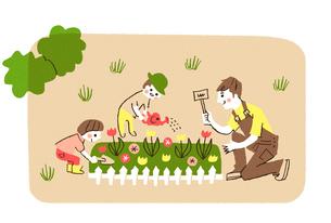花壇に花を植える親子のイラスト素材 [FYI01820433]