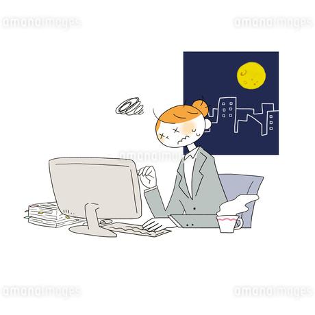 会社で残業する女性営業のイラスト素材 [FYI01820452]
