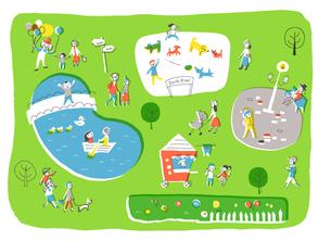 公園で楽しむ人々のイラスト素材 [FYI01820453]