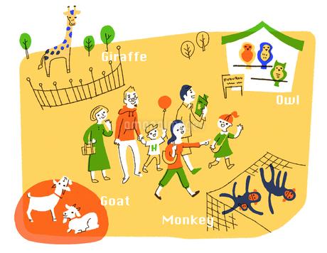動物園を楽しむ家族のイラスト素材 [FYI01820466]