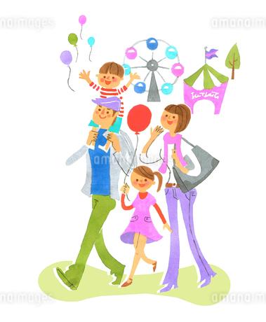 遊園地での家族のイラスト素材 [FYI01820467]