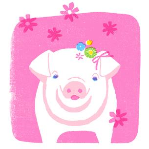 花飾りを付けたピンクのブタのイラスト素材 [FYI01820470]