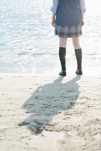 女子高生 海 後ろ姿 輝きの写真素材 [FYI01820476]