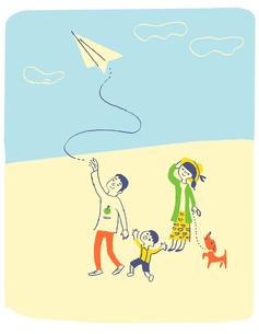 紙飛行機と家族のイラスト素材 [FYI01820489]