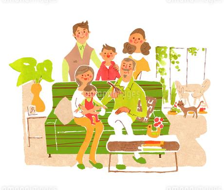 リビングでの3世代家族のイラスト素材 [FYI01820530]