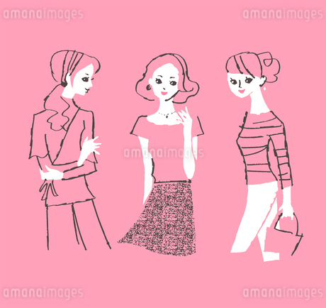 3人の女性のイラスト素材 [FYI01820555]