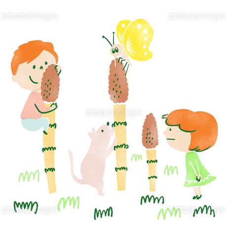 つくしんぼと一緒に遊ぶ子供たちと猫と蝶々のイラスト素材 [FYI01820613]