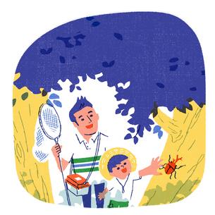 虫取りをする親子のイラスト素材 [FYI01820680]