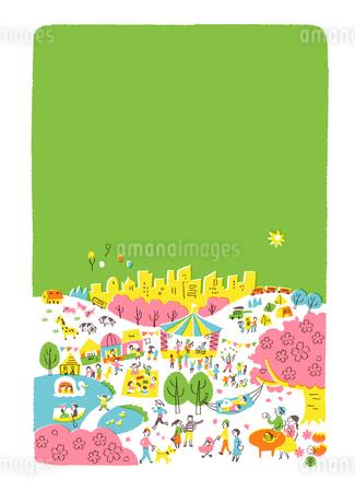 人々で賑わう公園 春 緑バックのイラスト素材 [FYI01820687]