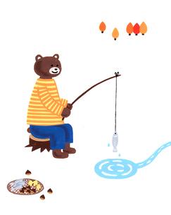 釣りをするくまのイラスト素材 [FYI01820689]