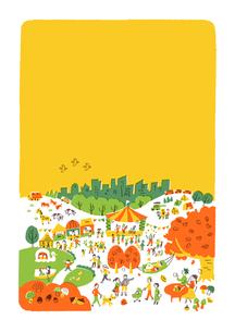 人々で賑わう公園 秋のイラスト素材 [FYI01820774]