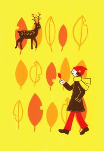紅葉と鹿のイラスト素材 [FYI01820791]