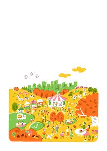 人々で賑わう公園 秋 白バックのイラスト素材 [FYI01820829]