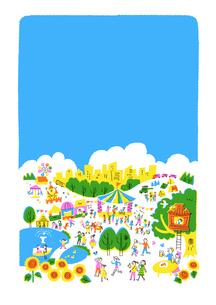 人々で賑わう公園 夏 青バックのイラスト素材 [FYI01820842]