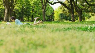 公園の芝生で読書をする女性の写真素材 [FYI01820907]