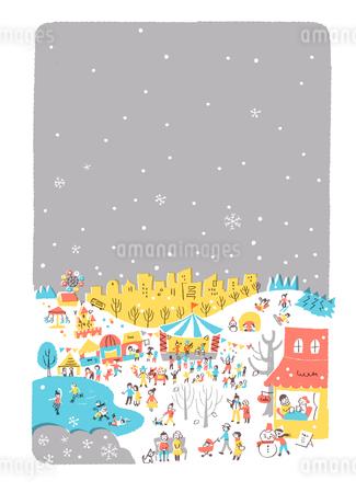人々で賑わう公園 冬のイラスト素材 [FYI01820909]
