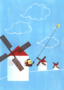 風車と凧揚げのイラスト素材 [FYI01820915]