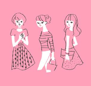3人の女性のイラスト素材 [FYI01820954]