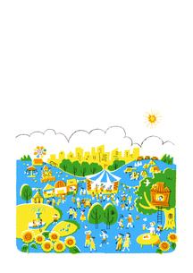 人々で賑わう公園 夏 白バックのイラスト素材 [FYI01820957]