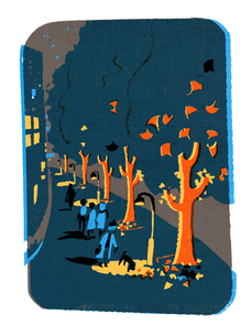 夜のイチョウ並木のイラスト素材 [FYI01820977]
