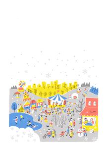 人々で賑わう公園 冬 白バックのイラスト素材 [FYI01821039]