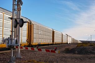 踏切を通過する貨物列車の写真素材 [FYI01821136]