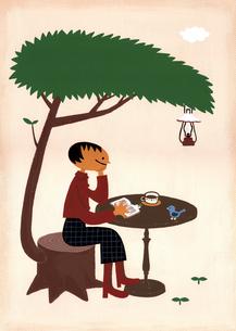 木陰でコーヒーのイラスト素材 [FYI01821151]