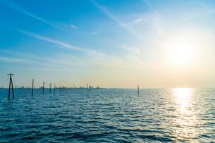 東京湾に伸びる江川海岸の海中電柱の写真素材 [FYI01821426]