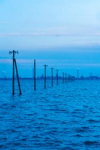 東京湾に伸びる江川海岸の海中電柱の写真素材 [FYI01821619]