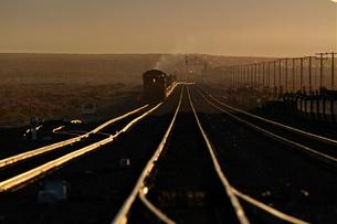 朝日を浴びた貨物列車の写真素材 [FYI01821659]