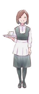 カップを持った緑の服のカフェ店員女性のイラスト素材 [FYI01821943]