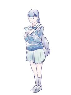 スマホを見る青い制服の女の子のイラスト素材 [FYI01821964]